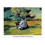 Un pintor en el trabajo de Paul Cezanne Postales