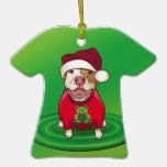 Un pitbull en una camiseta del oso ornamento para arbol de navidad