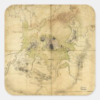 Un plan de Boston y del mapa de la vecindad (1775) Pegatina Cuadrada