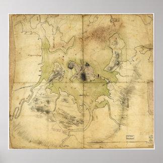Un plan de Boston y del mapa de la vecindad (1775) Póster