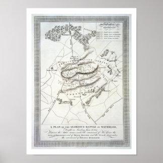 Un plan de la batalla de Waterloo gloriosa (engrav Impresiones