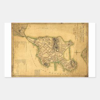 Un plan de la ciudad del mapa de Boston (1775) Pegatina Rectangular