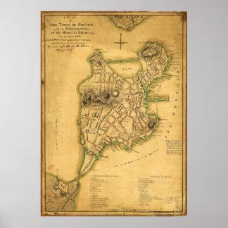 Un plan de la ciudad del mapa de Boston (1775) Póster
