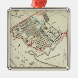 Un plan de la propiedad del Hampton normal Adorno Cuadrado Plateado