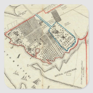 Un plan de la propiedad del Hampton normal Pegatina Cuadrada