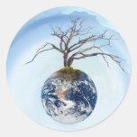Un planeta del árbol etiquetas redondas
