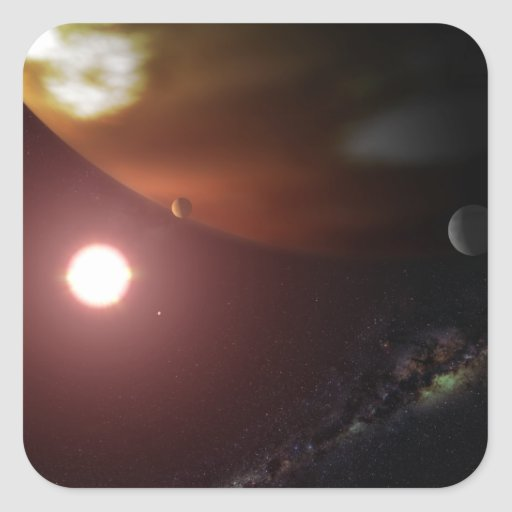 Un planeta del gigante de gas que está en órbita pegatina cuadrada