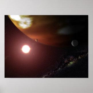 Un planeta del gigante de gas que está en órbita u impresiones