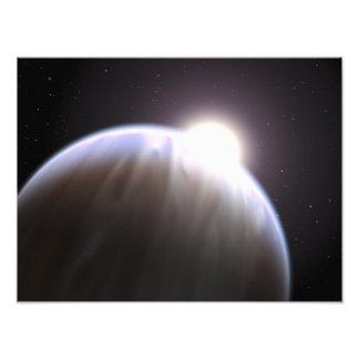 Un planeta extrasolar con su estrella del padre fotografia