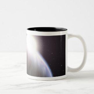 Un planeta extrasolar con su estrella del padre tazas de café