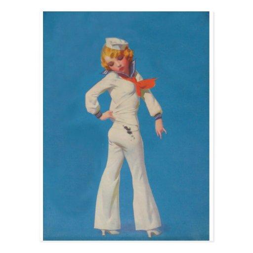 Un poco alquitrán en chica del marinero tarjeta postal