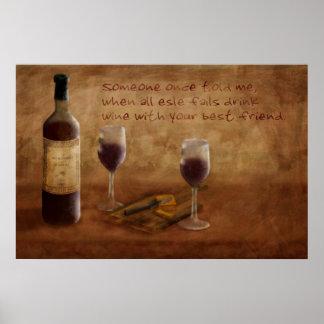 Un poco vino está muy bien póster
