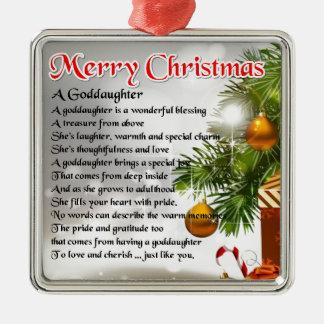 Un poema de la ahijada - diseño del navidad adorno cuadrado plateado