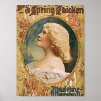 """Un pollo de primavera, """"Madeline Marshall"""" Theate  Posters"""