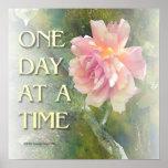 Un poster color de rosa rosado del día a la vez