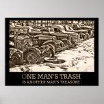 Un poster de la basura del hombre