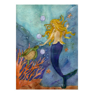 Un poster de la tortuga de mar de la sirena del en