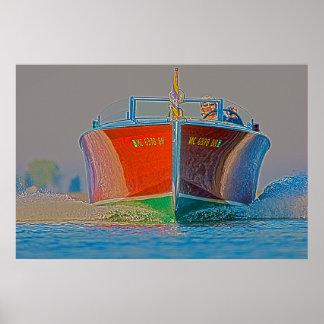 Un poster de madera inminente del barco