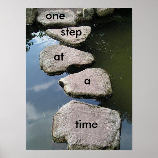 Un poster de motivación del paso a la vez