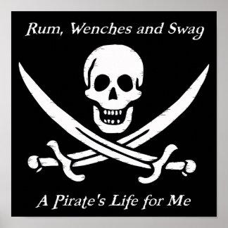 Un poster del negro de la vida de los piratas - pe