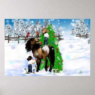 Un poster del óvalo del navidad del caballo y del
