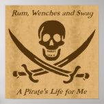 Un poster del pergamino de la vida de los piratas