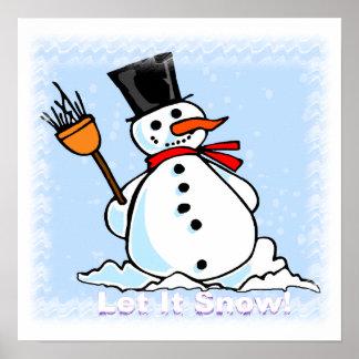 Un poster escarchado del muñeco de nieve