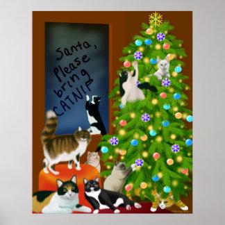 Un poster felino del navidad de la familia