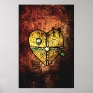 Un poster gótico menos quebrado del arte del coraz