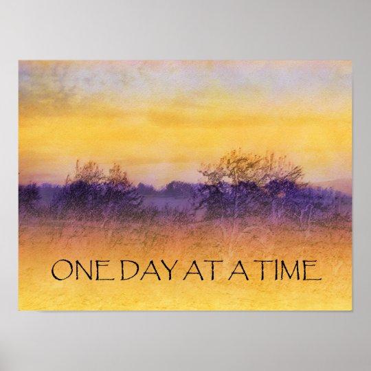 Un poster púrpura anaranjado del campo del día a l póster