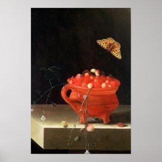 Un pote de fresas salvajes póster