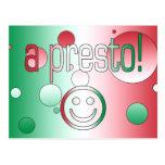 ¡Un presto! La bandera de Italia colorea arte pop Tarjeta Postal