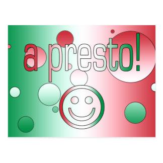 ¡Un presto! La bandera de Italia colorea arte pop Tarjetas Postales