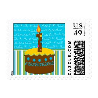 Un primer cumpleaños de los años sello postal