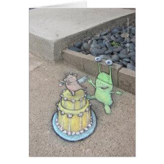 un primero inusual de la torta tarjeta de felicitación
