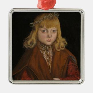 Un príncipe de Sajonia, c.1517 (aceite en el Adorno Navideño Cuadrado De Metal