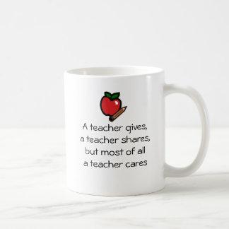 Un profesor cuida tazas de café