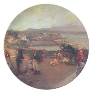 Un pueblo de Connemara - la manera al puerto, 1898 Platos