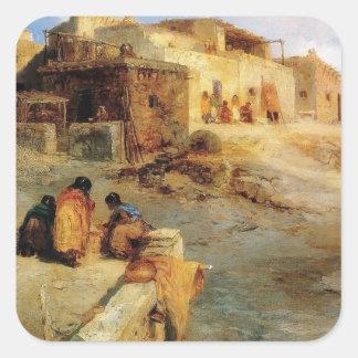 Un pueblo indio Laguna New México - 1906 Pegatina Cuadrada