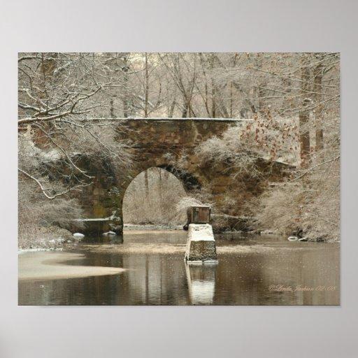 Un puente de piedra arqueado, impresión de la lona posters