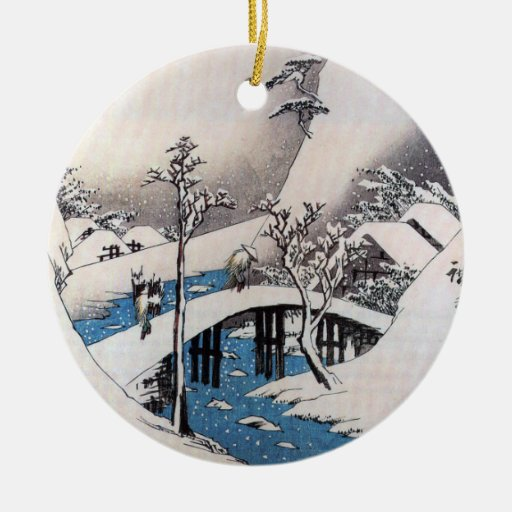 Un puente en un paisaje Nevado, Ando Hiroshige Adorno Navideño Redondo De Cerámica