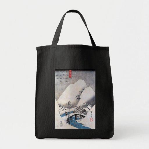 Un puente en un paisaje Nevado, Ando Hiroshige Bolsa Lienzo