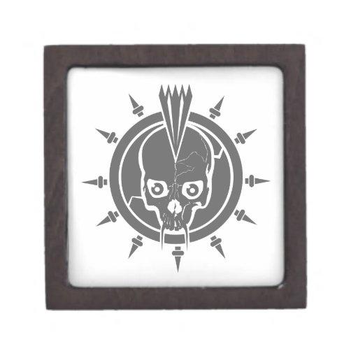 Un punk rock malo, gótico, cráneo del vampiro con  caja de regalo de calidad