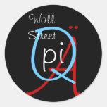 un q pi Wall Street Etiquetas Redondas