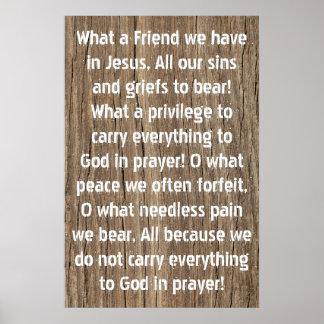 Un qué amigo tenemos en poster del himno de Jesús