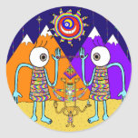 Un qué pegatina colorido del mundo (círculo)