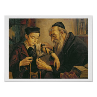 Un rabino que ata los Phylacteries al brazo de un  Póster