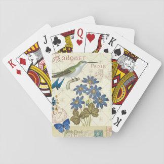 Un ramo de flores, de pájaros y de mariposas barajas de cartas