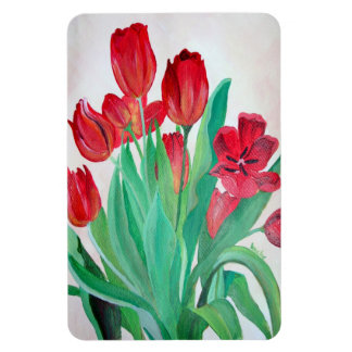 Un ramo de tulipanes rojos imán