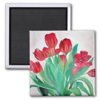 Un ramo de tulipanes rojos imanes